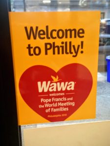 Wawa store sign welcomes Pope Francis and the World Meeting of Families