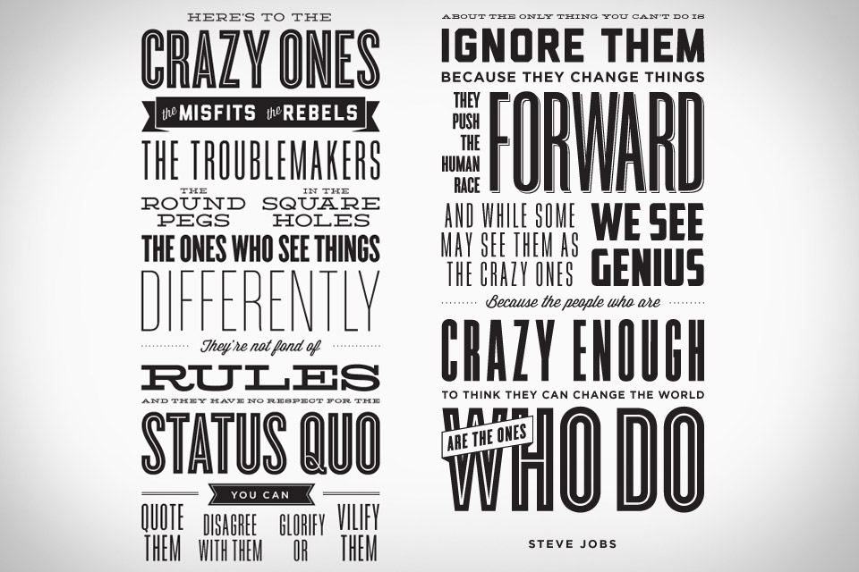 Here's To The Crazy Ones Letterpress Poster
