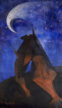 """Rufino Tamayo, """"El Hombre (Man),"""" 1953, pigment in vinyl emulsion on Masonite, Dallas Museum of Art, Commissioned by the Dallas Art Association through Neiman-Marcus Exposition Funds,1953.22, © 2012 Estate of the artist in support of Fundacion Olga y Rufino Tamayo, A.C."""