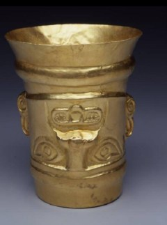 Cup: Upside-Down Head, 900-1100 C.E., gold, Dallas Museum of Art, The Nora and John Wise Collection, gift of Mr. and Mrs. Jake L. Hamon, the Eugene McDermott Family, Mr. and Mrs. Algur H. Meadows and the Meadows Foundation, Incorporated, and Mr. and Mrs. John D. Murchison, 1976.W.543