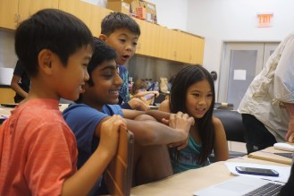 Campers editing their film projects. (Vid Kids for ages 9-12)