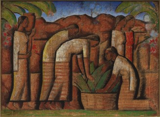 "Alfredo Ramos Martinez, ""Workers,"" 1944–45, tempera on newsprint, Dallas Museum of Art, gift of Mr. and Mrs. William Weber Johnson, 1991.106, © Alfredo Ramos Martinez"