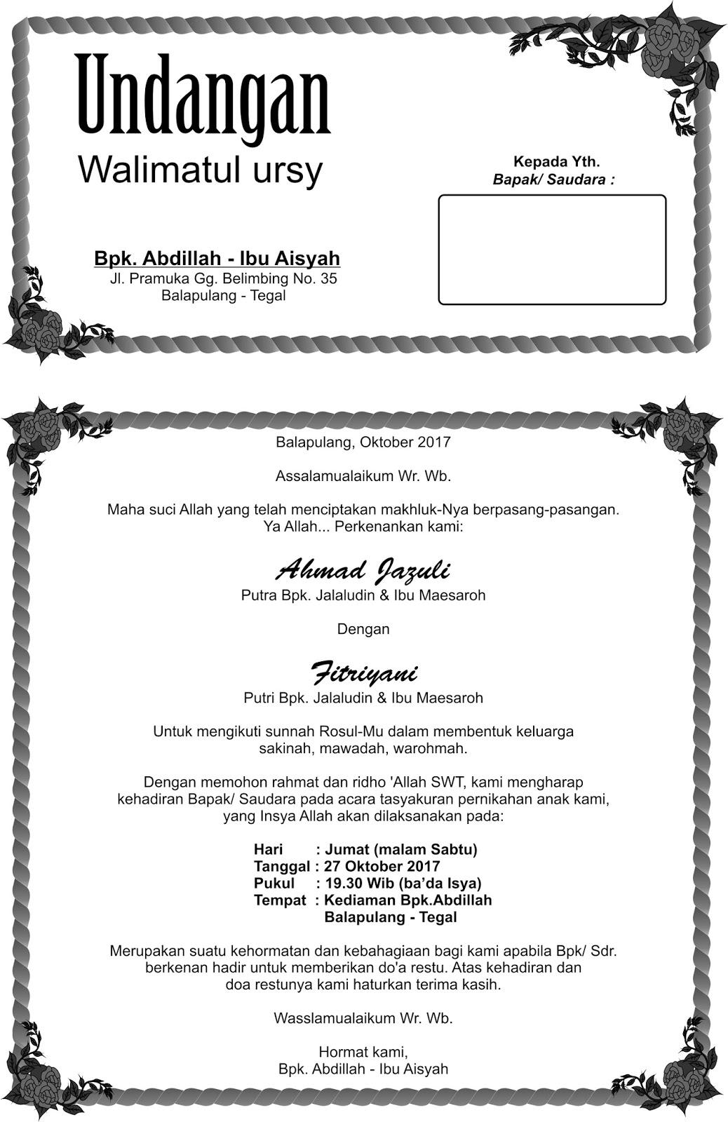 Cara Membuat Undangan Walimatul Ursy : membuat, undangan, walimatul, Contoh, Undangan, Walimatul.Document