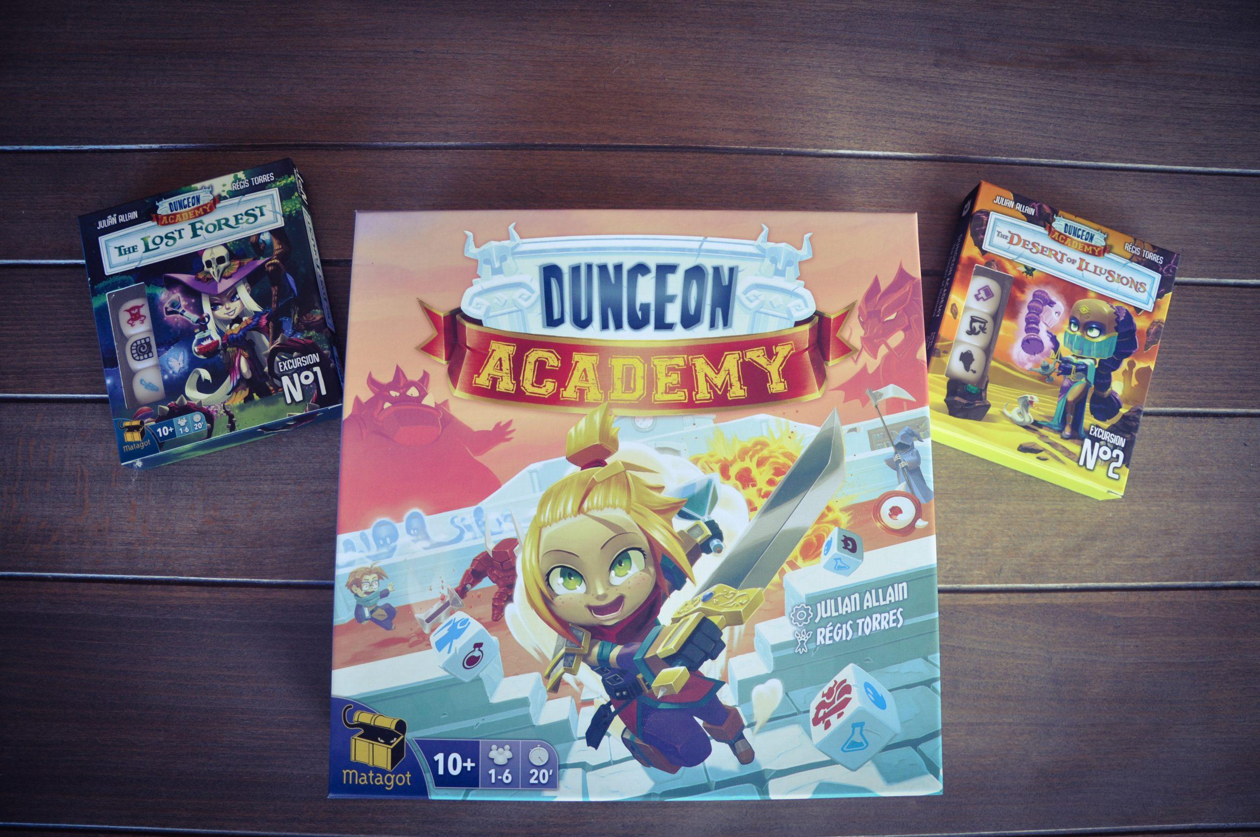 [Test] Dungeon Academy et ses deux extensions : de nouveaux dés, de nouvelles créatures diaboliques et des héros inédits pour un dungeon crawler survitaminé.