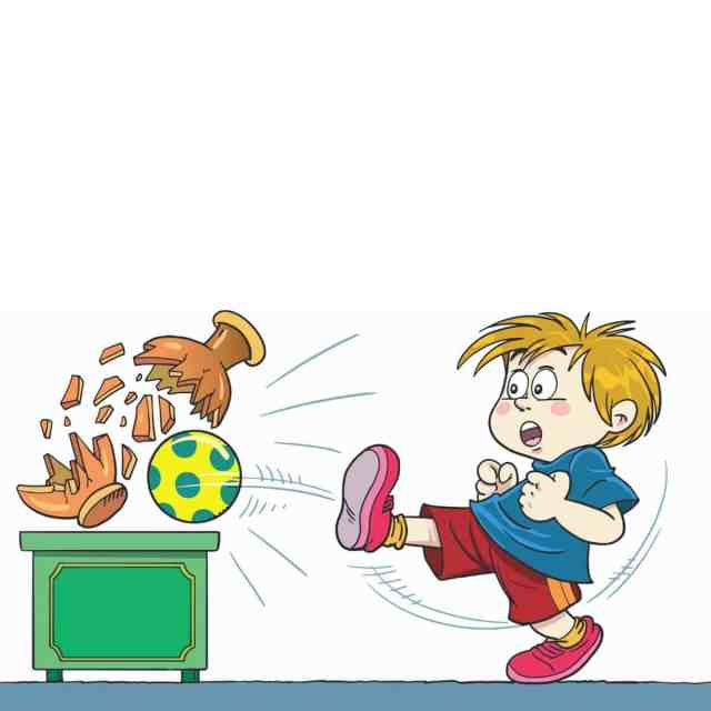 Cartoon images of young boy kicking a polka-dot ball and accidentally breaking a pot
