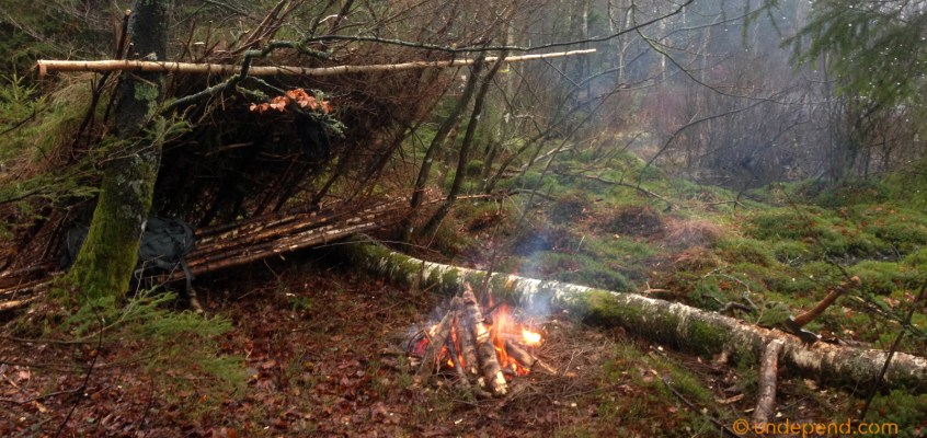 Bushcraft weekend in Sweden: Building a natural shelter