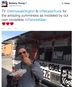 scandal abc, gourmet food truck, kerry washington, bellamy young