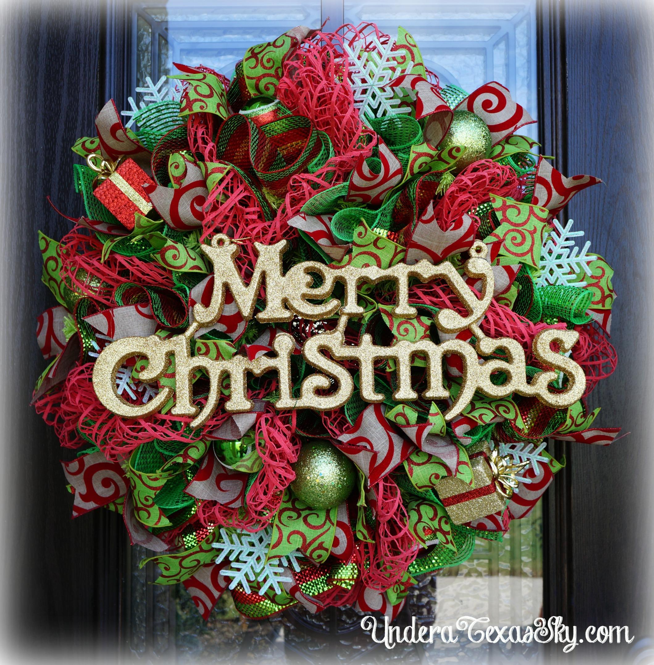 Christmas Tree Deco Mesh Wreath