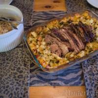 Örtkryddad fläskkarré med tärnad potatis i ugn!