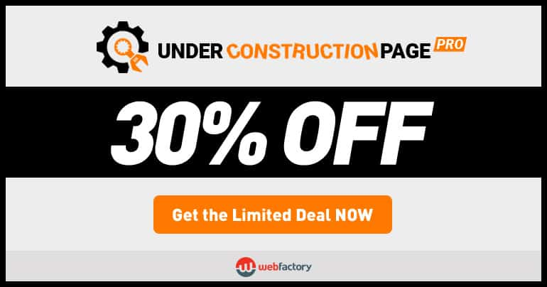UnderConstructionPage PRO Black Friday & Cyber Monday discount 2017