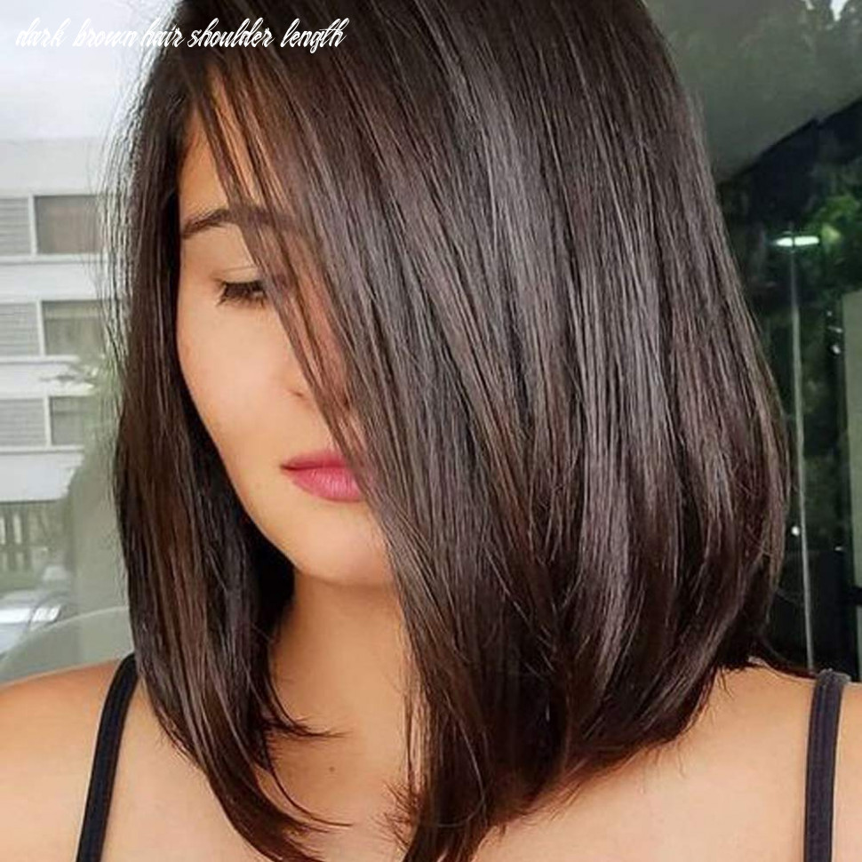 Queentas 11inch Shoulder Length Wig Short Bob Natural Looking Straight  Synthetic Medium Hair Wigs for White Women with Wig Cap(Dark Brown #11)