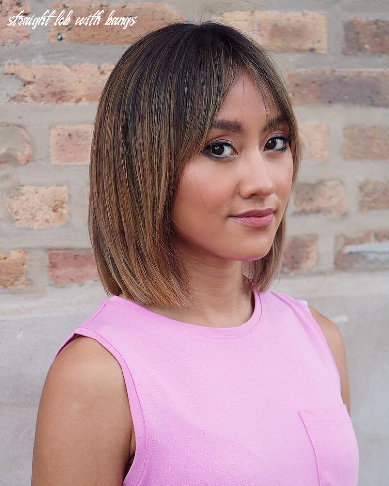 Straight Classic Lob with Curtain Bangs and Bronde Hair Co… | Flickr