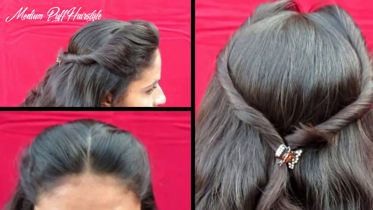 BOTH SIDE PUFF HAIRSTYLE    SIMPLE OUT GOING HAIRSTYLE    Puff Hairstyle  For Medium Hair