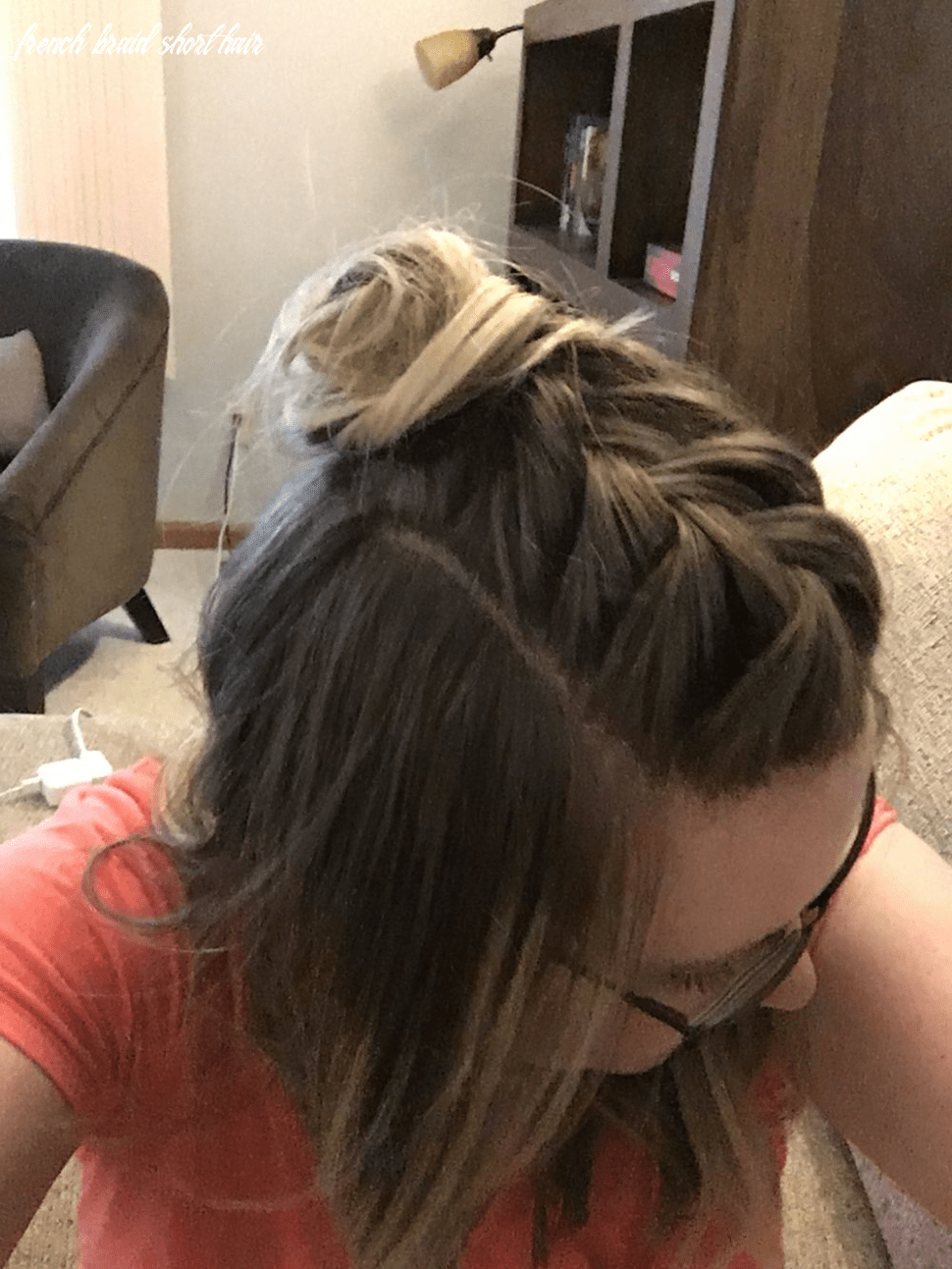 Faux hawk French braid with a top knot half-up style for medium to ...