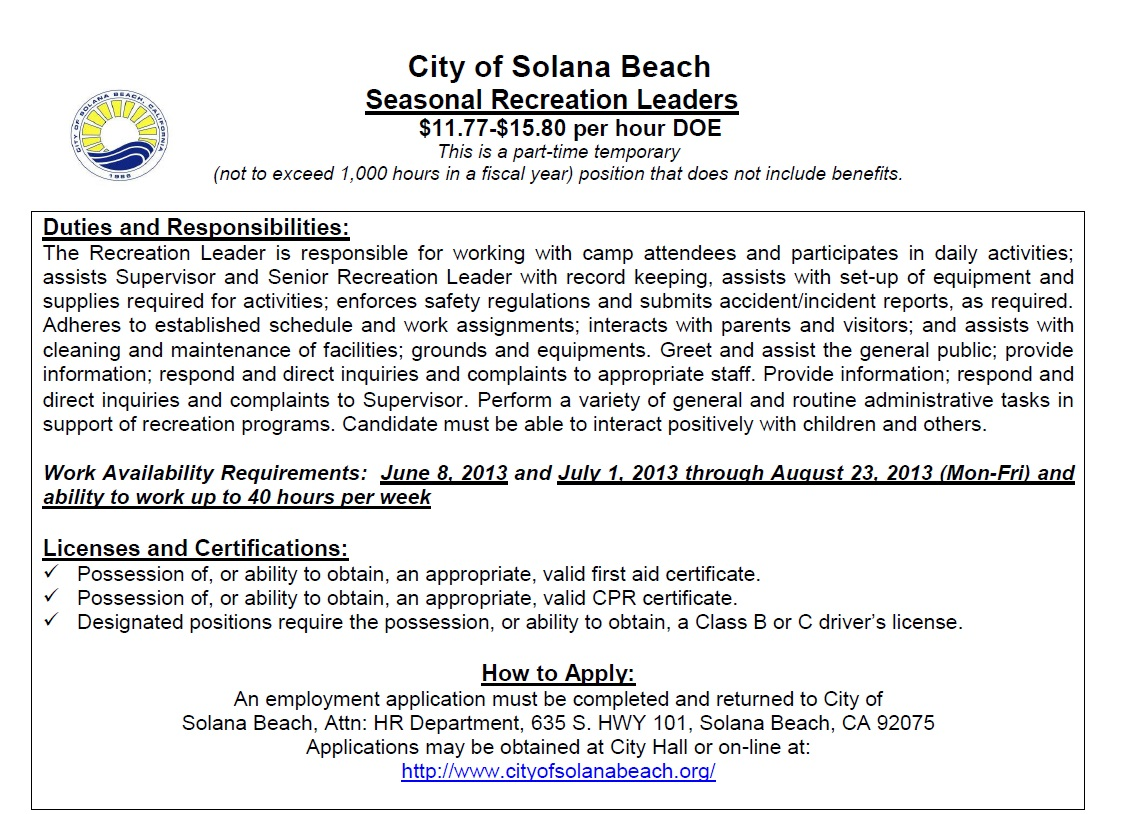 Recreation Resume Seasonal Recreation Leader Positions With City Of Solana