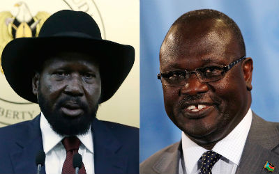 President Salva Kiir, right. Rebel leader and former VP, Riek Machar, left. Source: Day Donaldson, the Speaker. Flickr.
