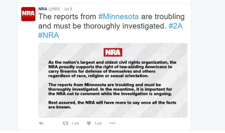 The vague tweet issued from the NRA concerning Philando Castile came almost 2 days after the incident.