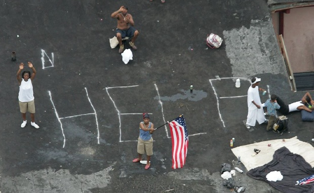 Just one of the images in which African Americans were shown deserted In New Orleans after Hurricane Katrina. Image Associated Press/David J. Phillip