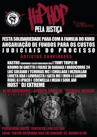 Hip Hop pela Justiça  - dia 16 de novembro apartir das 22h no Teatro do Bairro