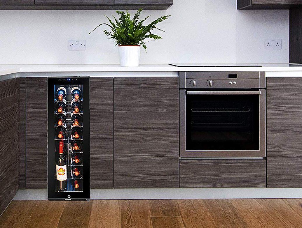 AKDY 20 Bottle Touch Panel Single Zone Chrome Wire Standing Shelves Freestanding Compressor Key Lock Black Wine Cooler