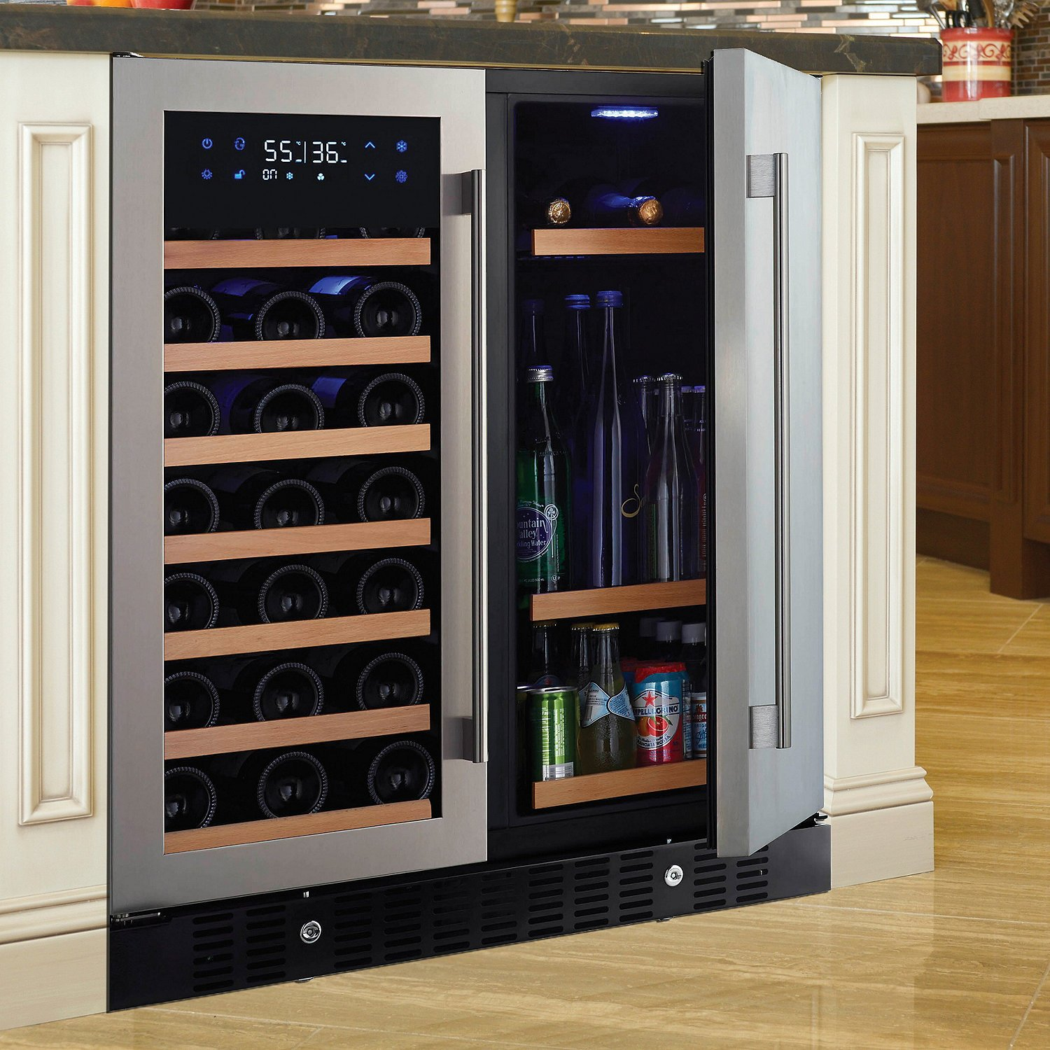 N'FINITY PRO HDX by Wine Enthusiast Wine & Beverage Center - Holds 90 Cans & 35 Wine Bottles - Freestanding or Built-In Wine Refrigerator
