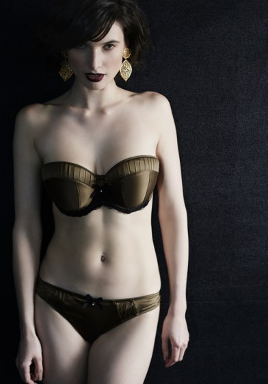 Amelie, a classic satin strapless style in a rich olive green shade