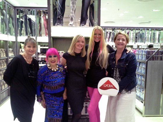 L to R: Sue Harrison (Legwear Buyer Fenwicks), Zandra Rhodes, Alison Baines of Melas, J Aston's model and Jane Gwyther, legwear segment manager INVISTA
