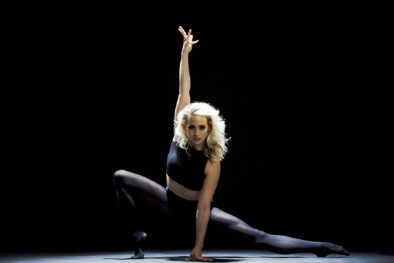 The star showed off her dancing prowess in a variety of striking and flexible poses in the tights.