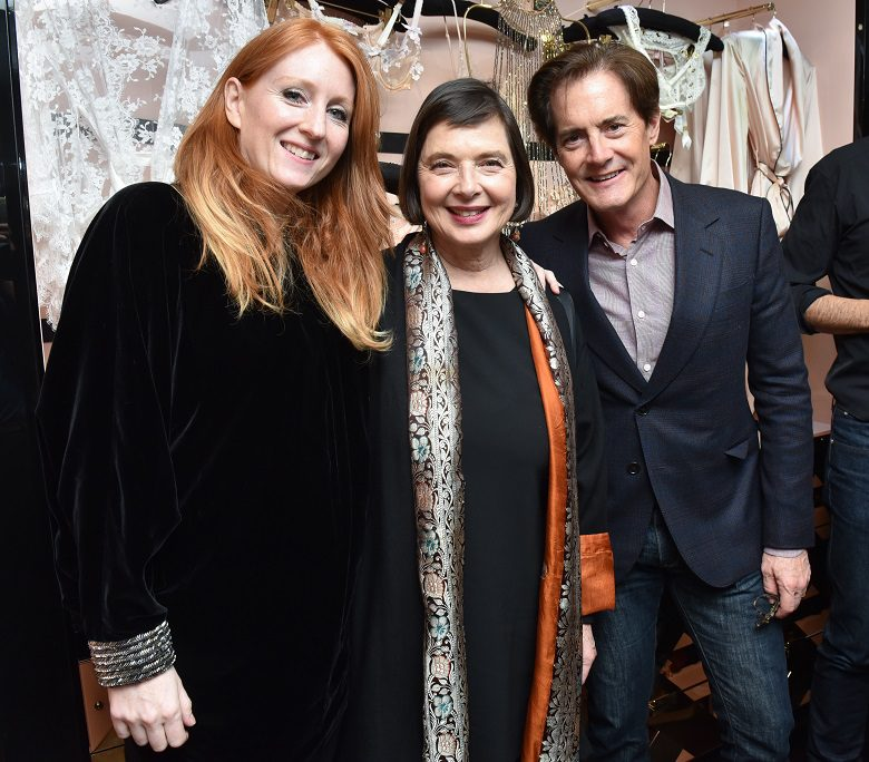 Sarah Shotton (Agent Provocateur Creative Director) with Blue Velvet stars Isabella Rossellini and Kyle MacLachlan
