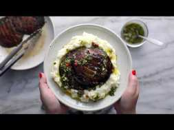 Grilled Chimichurri Portobellos with Goat Cheese Mashed Potatoes
