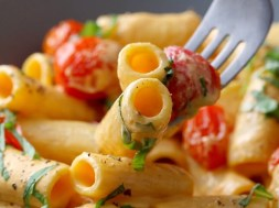 Creamy Red Pepper Pasta with Blistered Tomatoes