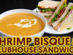Shrimp Bisque and Clubhouse Sandwich