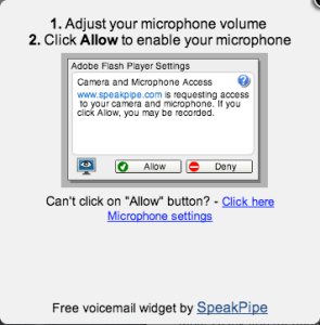 Allow Speakpipe to use the microphone.