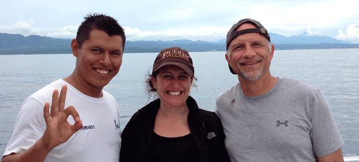 Fernando our dive guide, Mrs. SKuba Steve and SKuba Steve on Vallarta Adventures #1