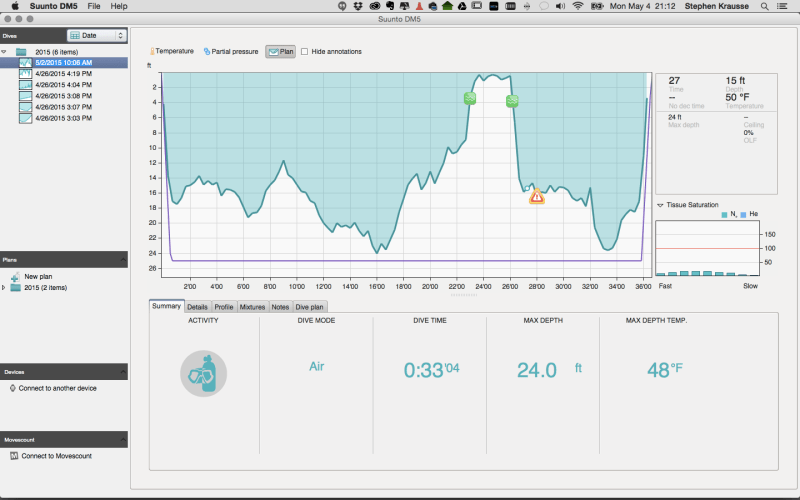 Suunto DM5 Software Dive Example