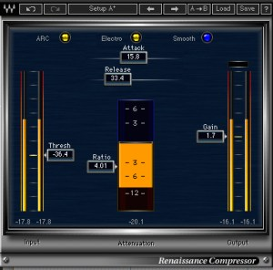 Side-chain compression using Waves RCompressor