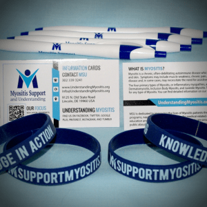 Myositis bundle, wristbands, pens, info cards