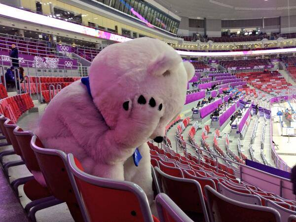 Sochi Olympics 2014 Bear sad after Russian team loss in hockey