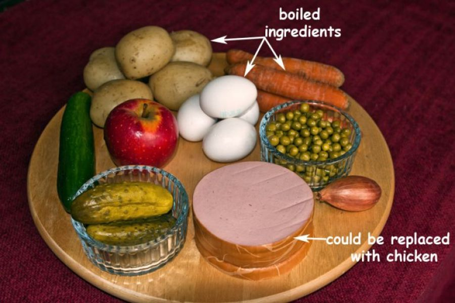 Ingredients for Russian Salad