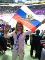 Russian fan with flag