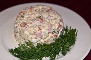 Russian salad on a plate