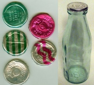 Milk products bottles with foil lids