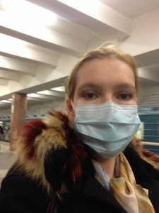 UnderstandRussia blog writer wearing a mask in Moscow subway
