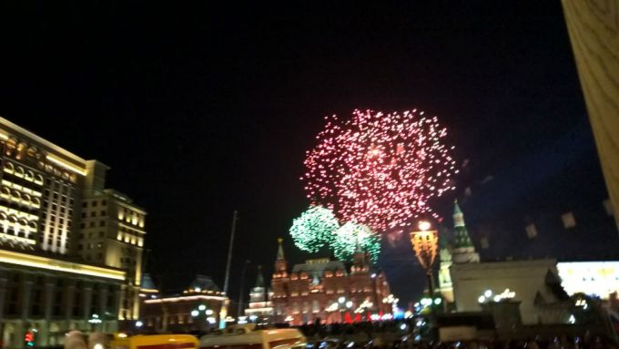 Fireworks on the Victory Day in Moscow