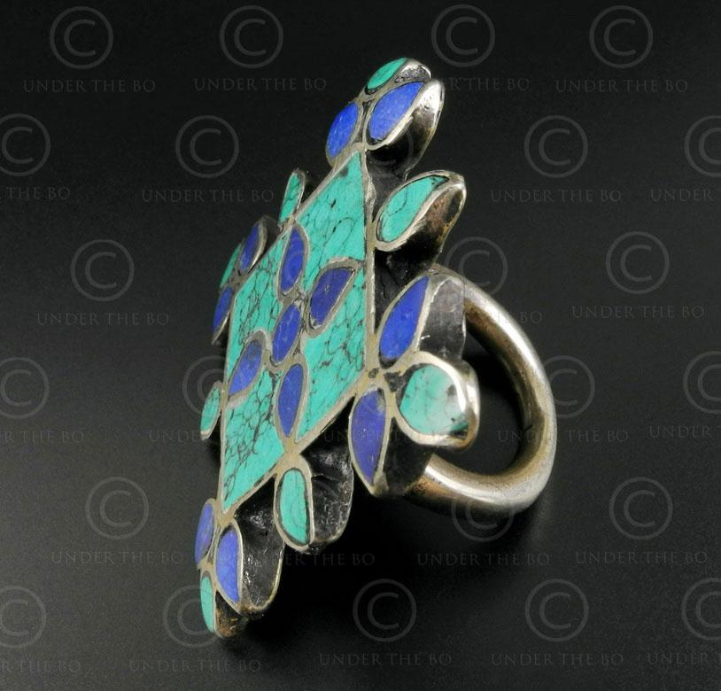 Bague argent mosaque turquoise lapis R244B Inde