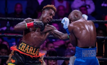 Jermell Charlo lands a left hook. Photo Lina Baker/UTHW