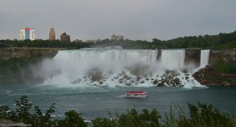 The American Falls and the Bridal Falls on the US side of Niagara Falls