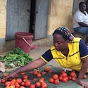 woman works in market