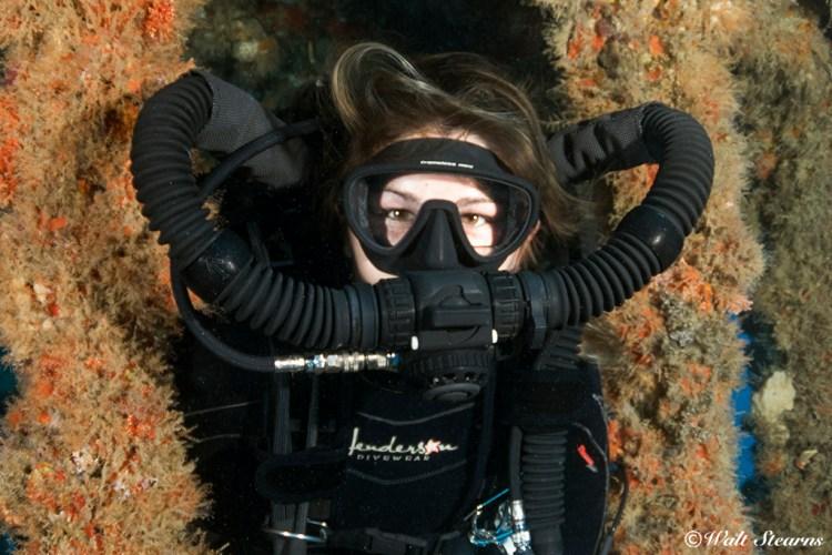 CCR diver with a Golem Shrimp BOV.