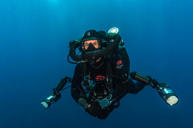 diver using a KISS Classic rebreather made by KISS Rebreathers. Photo by Wayne MacWilliams